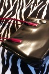 Pre-Owned Flashy Black Handbag With Red Handles