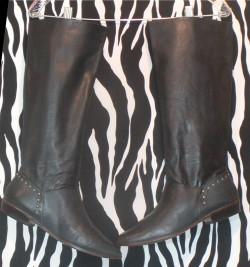 Vintage Slouch Black Leather Boots